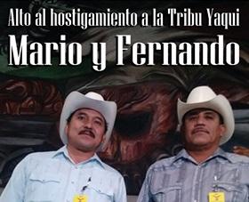 Mario Luna y Fernando Jiménez, miembros de la Tribu Yaqui, detenidos