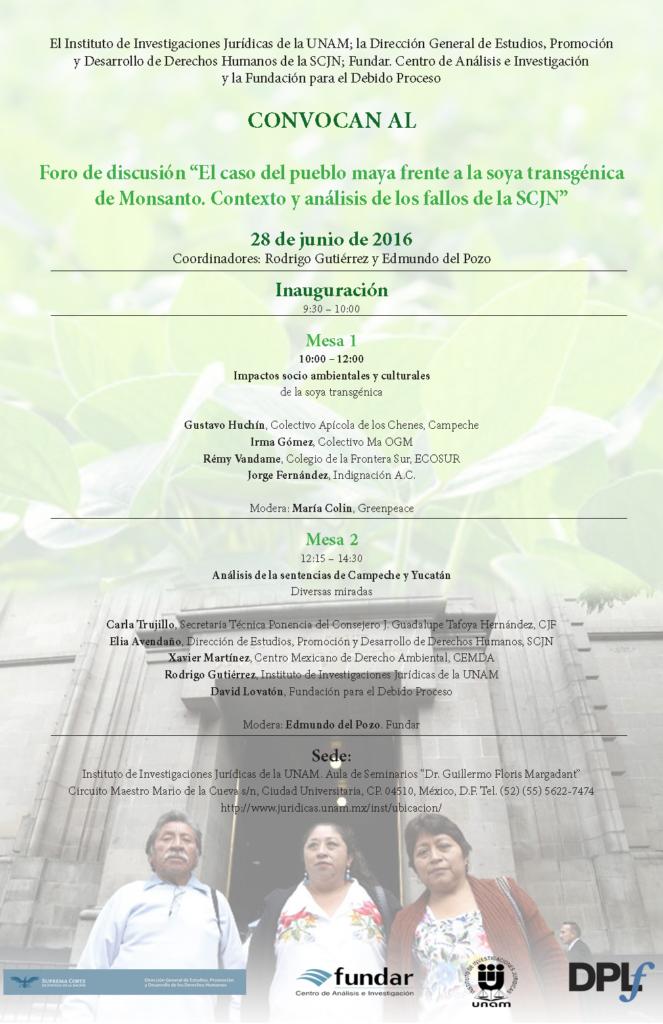 Cartel Foro Juridicas sentencia maya