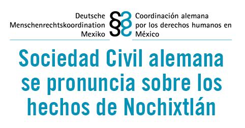 Carta de la Coordinación Alemana por los Derechos Humanos en México sobre Nochixtlán