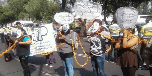 Comité Cerezo | Trabajadoras injustamente despedidas del #IEMS marchan contra la esclavitud moderna