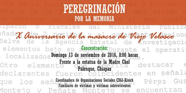 Invitacion por la memoria por el aniversario del X aniversario de la masacre Viejo Velasco